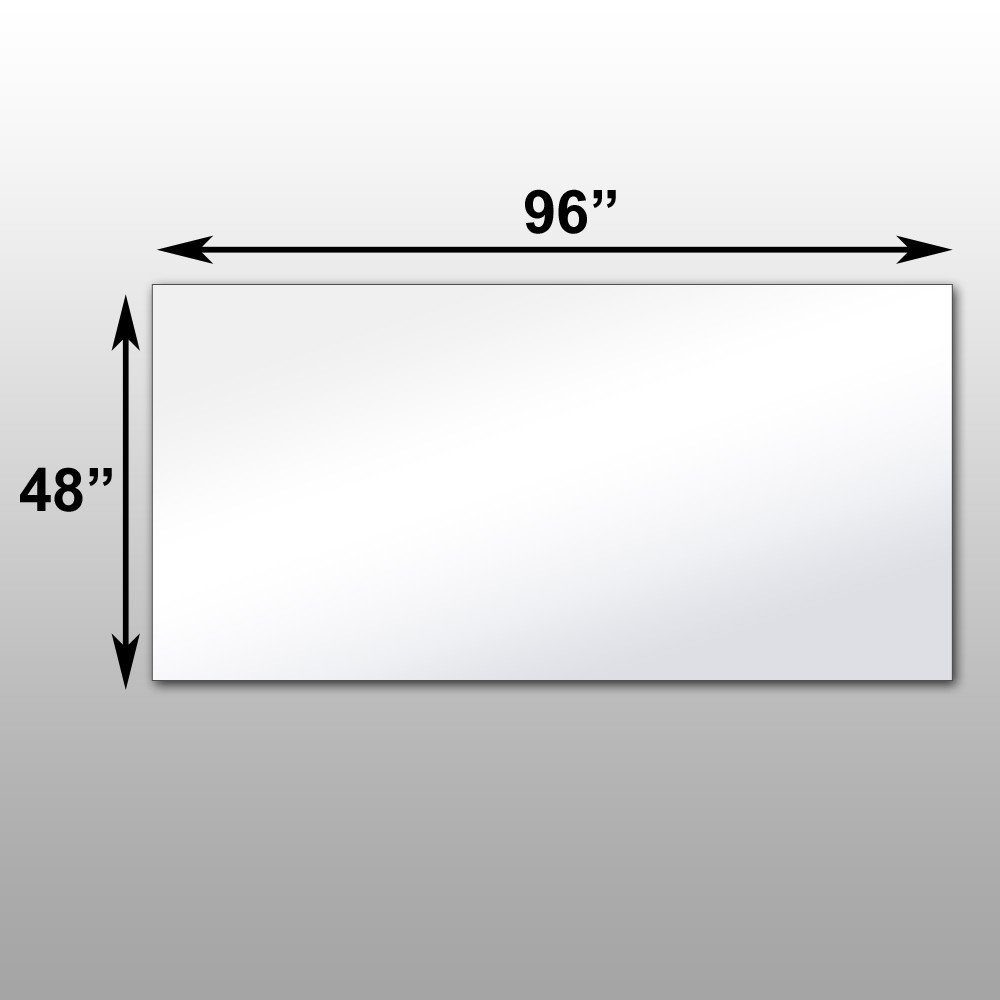 "Mirrorlite® PFS Optical Grade Glassless Mirror 48"" x 96"" x 1 7/16"""