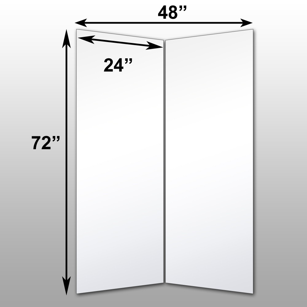 "Mirrorlite® Folding Glassless Mirror(2 Panels) 48"" x 72"" x 1""(Opened) 24"" x 72"" x 1""(Folded)"