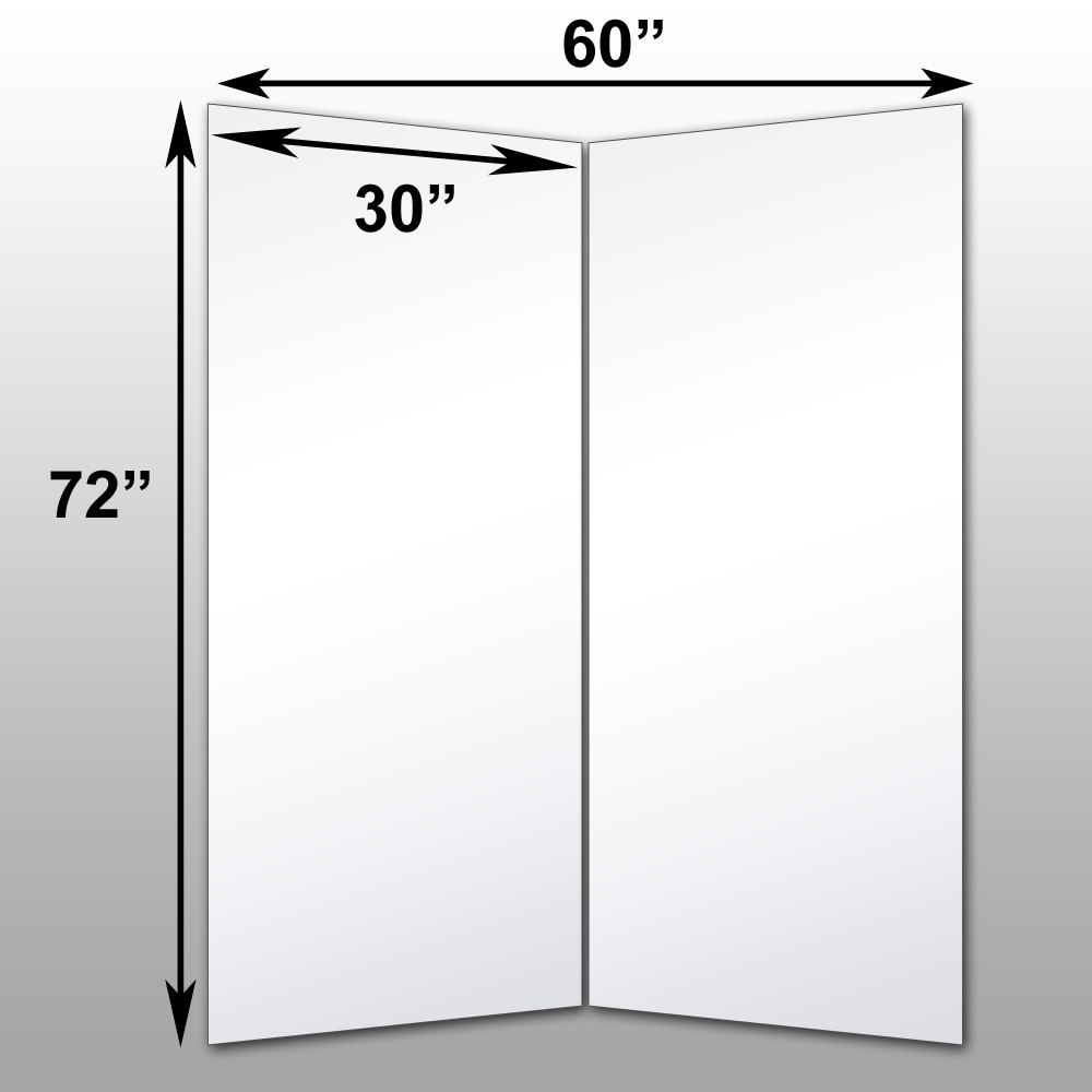 "Mirrorlite® Folding Glassless Mirror(2 Panels) 60"" x 72"" x 1""(Opened) 30"" x 72"" x 1""(Folded)"