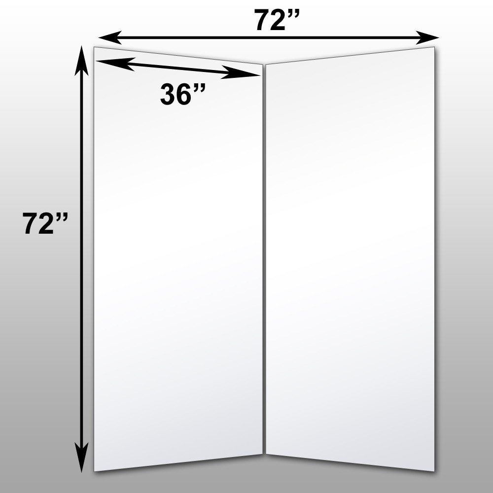 "Mirrorlite® Folding Glassless Mirror(2 Panels) 72"" x 72"" x 1""(Opened) 36"" x 72"" x 1""(Folded)"