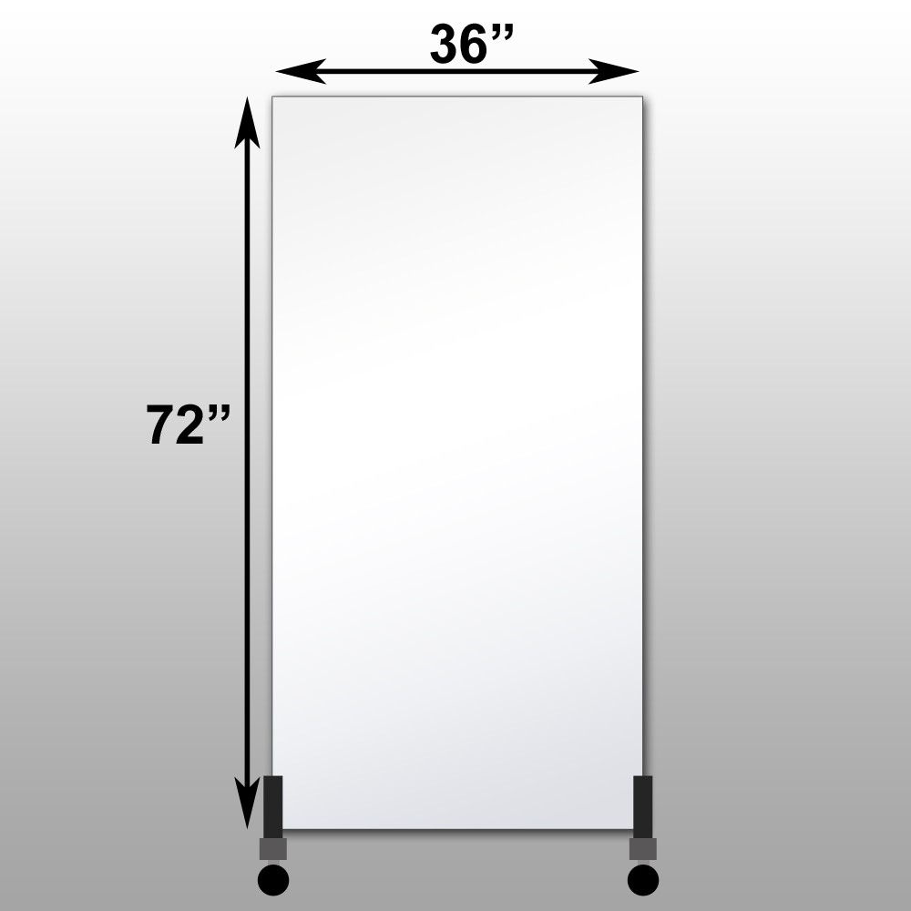 "Mirrorlite® Vertical Free Standing Glassless Mirror 36"" x 72"" x 1.25"""