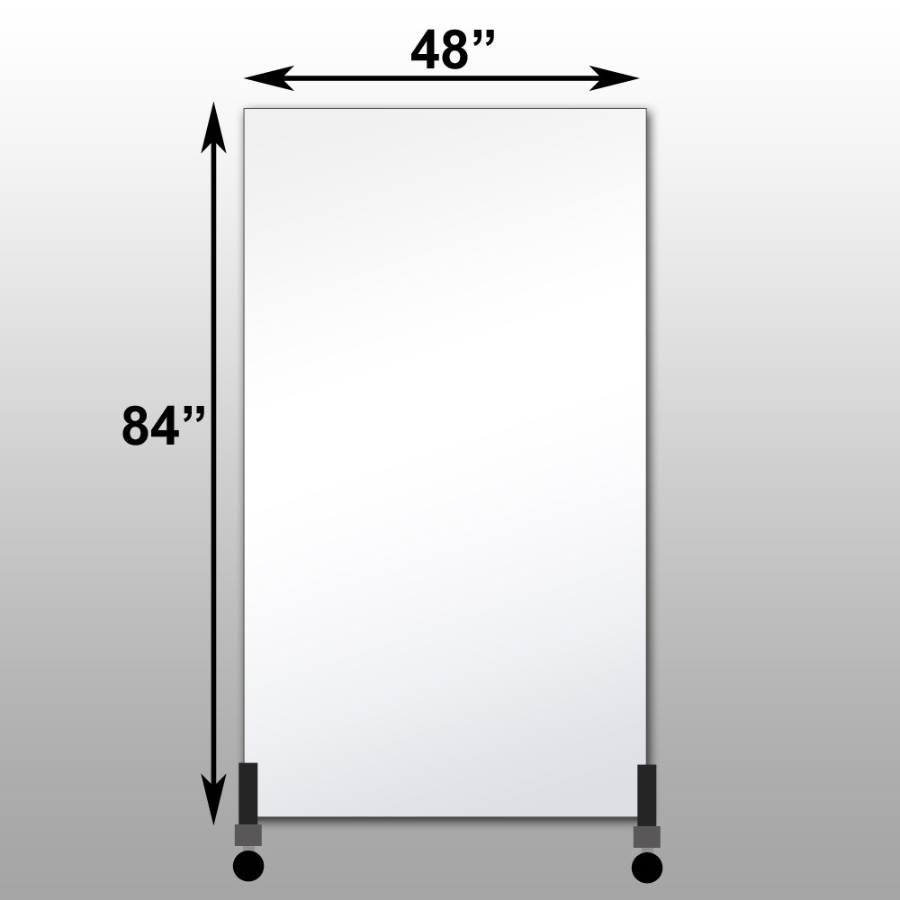 "Mirrorlite® Vertical Free Standing Glassless Mirror 48"" x 84"" x 1.25"""
