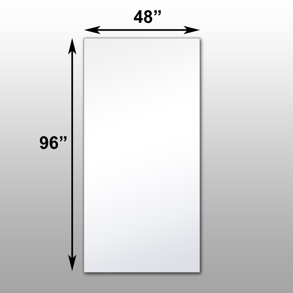 "Mirrorlite® Surface Mounted Glassless Mirror 48"" x 96"" x 1.25"""
