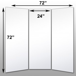 "Mirrorlite® Folding Glassless Mirror(3 Panels) 72"" x 72"" x 1""(Opened) 24"" x 72"" x 1""(Folded)"