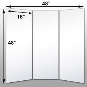 "Mirrorlite® Folding Glassless Mirror(3 Panels) 48"" x 48"" x .75""(Opened) 16"" x 48"" x .75""(Folded)"
